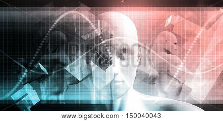 Digital Healthcare Technology System and Platform Software 3D Illustration Render
