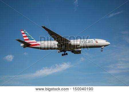 London, Heathrow, UK - 03 October 2016: Boeing 777 American Airlines landing at London Heathrow airport