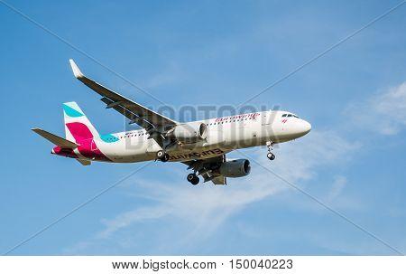 London, Heathrow, UK - 03 october 2016: Airbus a320 German airlines Eurowings, landing at London Heathrow airport