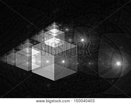 Abstract tech background - computer-generated image. Fractal geometry: glassy translucent cubes with light effects. Digital art for covers, desktop wallpaper, web design.