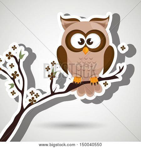 owl brown tree leaves brown vector illustration eps 10