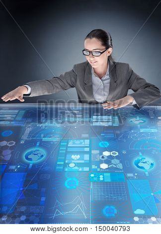 Futuristic media sharing concept with woman
