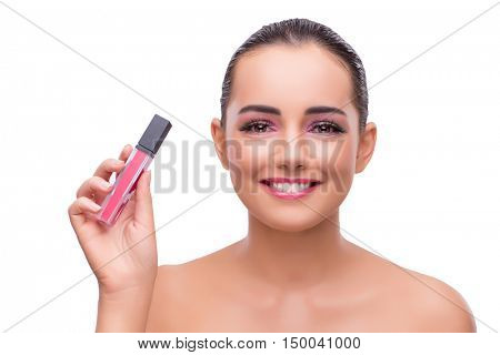 Woman with nail polish tube isolated on white
