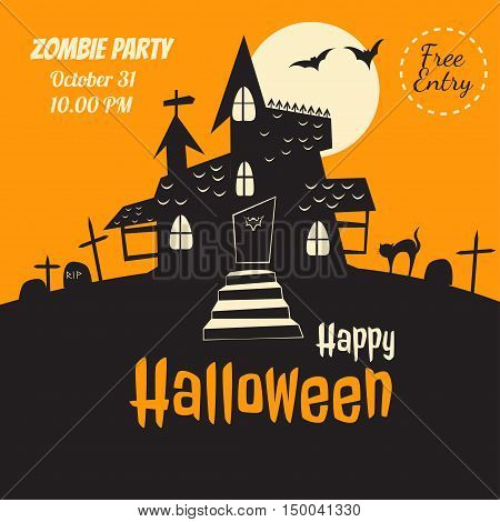 Vector halloween flyer. Dracula castle illustration for party invitation greeting card web design