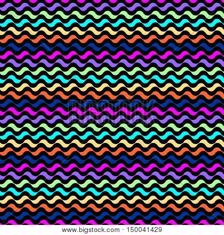 Seamless vector pattern. Mixed colored waves texture