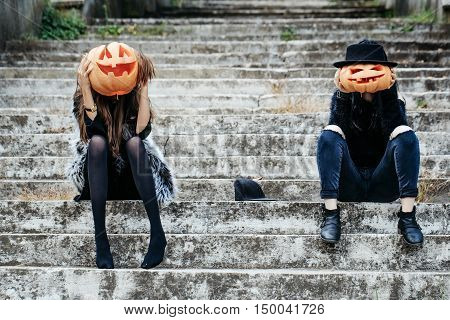 Halloween Witch Girls With Pumpkin