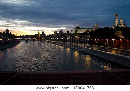Night shot of Moscow. View of the Moscow river from Bolshoy Moskvoretsky bridge. Evening Moscow is especially beautiful