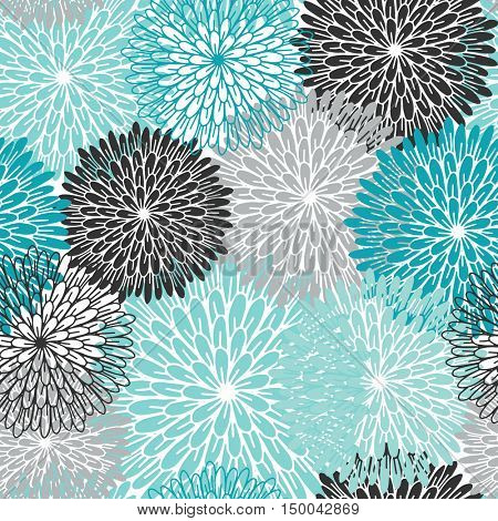 Blue, grey and black flower seamless pattern. Chrisanthemums in pastel colors. Vector samless flowers background. can be used for kids clothing, bed lining, wrapping paper, posters design