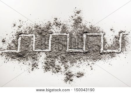 Meander winding line drawing in a scattered grey dust ash sand
