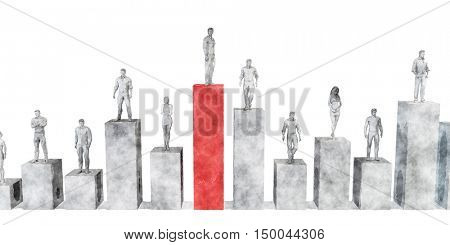 Business Pioneer and Market Industry Leader as a Concept 3D Illustration Render
