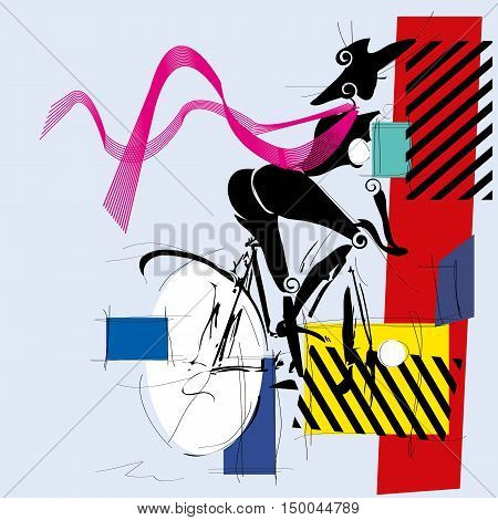 fashion girl by bicycle cubism modern. Vector illustration.