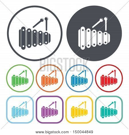 vector illustration of xylophone icon in simple style isolated on background. Stock vector symbol.
