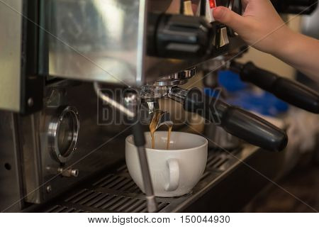 preparing coffee in coffee shop with professional coffee machine