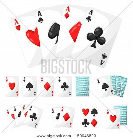 Set of casino gambling aces cards for design.