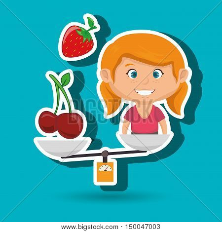 cartoon girl food fruit balance vector illustration