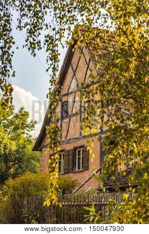 German house saw through birch branches - Traditional german house swabian region specific sawn through the hanging birch tree branches