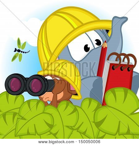 elephant and mouse explorer - vector illustration, eps