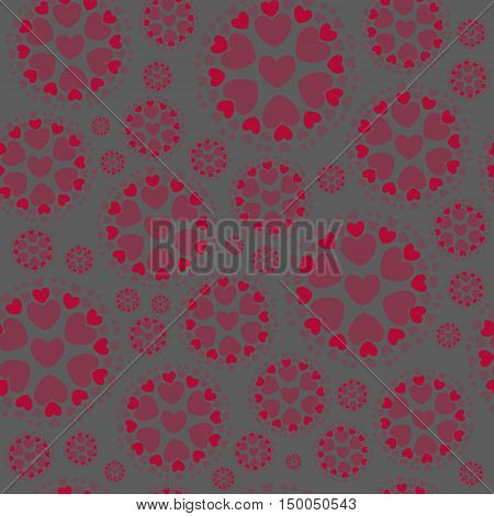 Seamless Pattern from Concentric Circles with Hearts on the Grey Background. Ideal Pattern for Fabric, Paper Print . Vector EPS 10