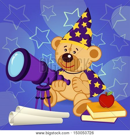 teddy bear astronomer - vector illustration, eps