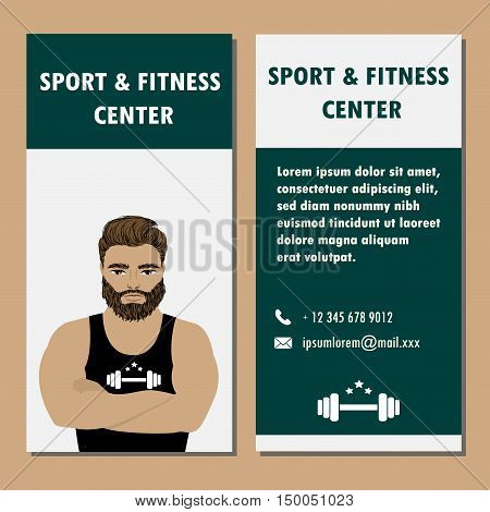 Athletic Club or Gym banner . Bodybuilder or strong man . Stock vector illustration