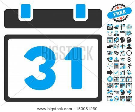 Last Month Day pictograph with bonus calendar and time management images. Vector illustration style is flat iconic bicolor symbols, blue and gray colors, white background.
