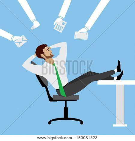 cartoon businessman relax on chair in office, stock vector illustration.
