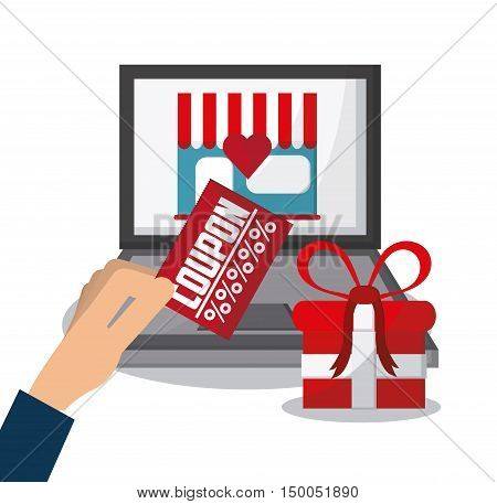 Laptop store gift and coupon icon. Shopping commerce market theme. Colorful design. Vector illustration