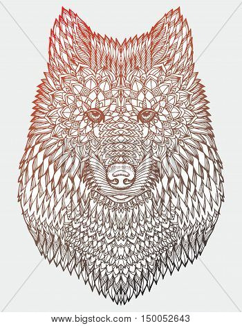 Portrait of a wolf. The dog's head. Line art. Black and white drawing by hand. Stylized. Decorative. Tattoo. Indian wolf. Wolf decorated with feathers.
