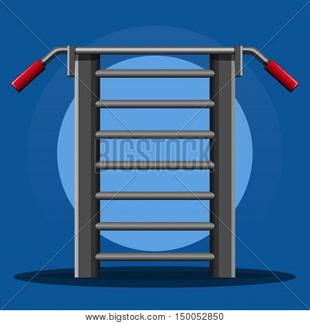 Gymnastics wall bars. Gymnastics ladder with horizontal bar. Sport equipment banner template. Vector illustration for sports clubs and gyms
