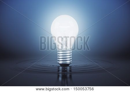 Abstract light bulb on water surface. Idea concept. 3D Rendering