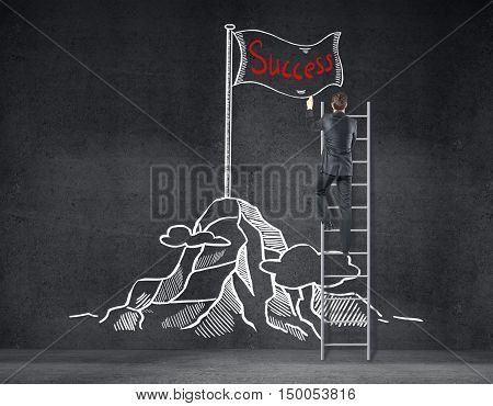 Back view of businessman on ladder drawing creative mountain top with flag sketch on concrete wall. Success concept
