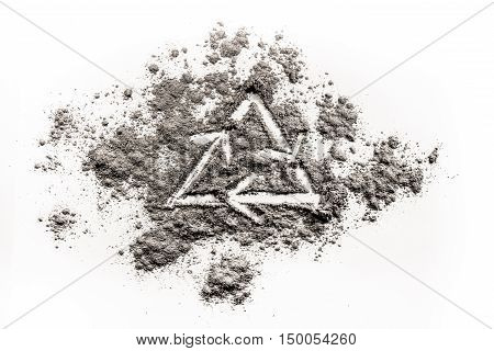 Recycling ecology icon drawing in a pile of grey ash dust
