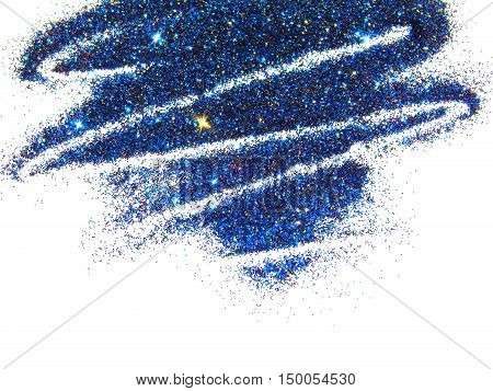 Blue, red and golden glitter sparkle on white background