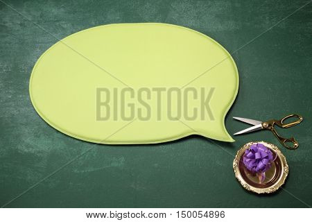 speech bubble with open ceremony equipment