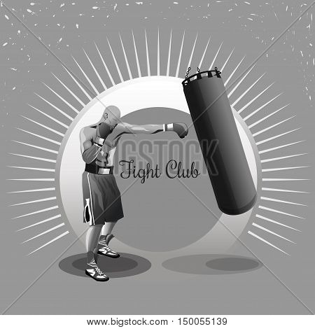 Boxer. Fighter. Warrior. Boxing logo. Training with punching bag. Monochrome vector illustration for sport fight club. Boxing emblem, label, badge. Fight club logo