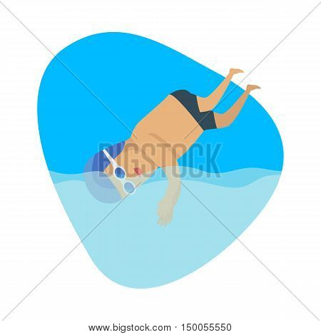 Diving sport template. Jumping or falling into water from platform or springboard