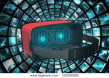 Digital image of red virtual reality simulator against vortex of digital screens in blue