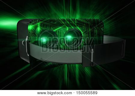 Black virtual reality simulator over white background against green and black circuit board