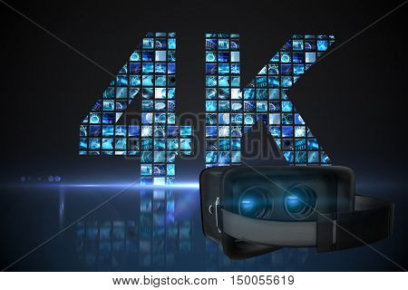 Black virtual reality simulator over white background against 4k made of digital screens in blue
