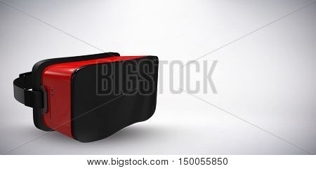 Red virtual reality simulator against white background against grey background