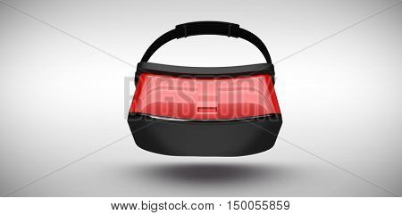 Red virtual reality simulator over white background against grey background