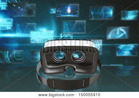 Digital image of virtual reality simulator against screen collage showing computing images