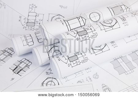 Science, technology and mechanical. Paper drawings of bolts and nuts. Scientific development.