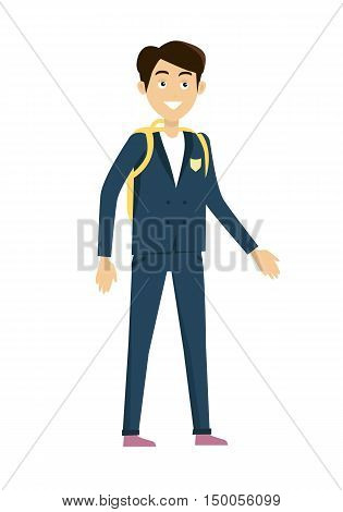 Schoolboy vector illustration in flat design. Smiling pupil boy in school uniform with backpack standing on white background.