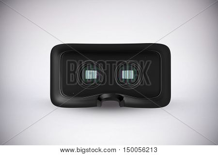 Close-up of virtual reality simulator against grey background