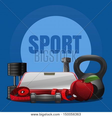 Sport equipment concept with different kinds of dumbbells, weight, bathroom weight scale, apple, centimeter. Sports equipment background. Vector illustration for fitness club
