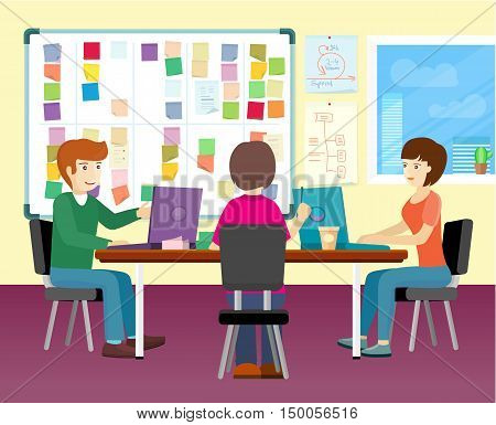 Group of people working with laptops on desk in office. Business meeting, team collaboration, modern business, teamwork, office life, office meeting room. Business people at the workplace.