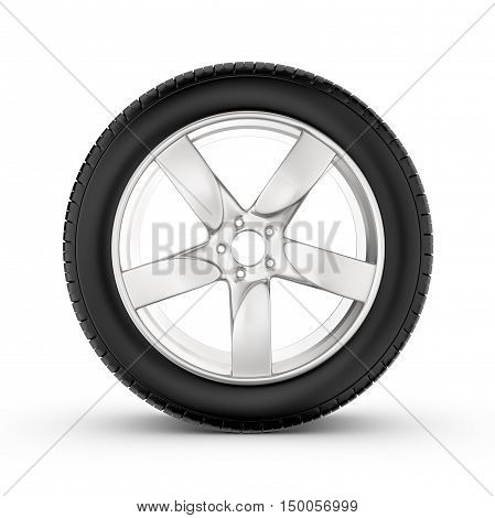 3d rendering of wheel with one in profile isolated on white background. Rubber and caoutchouc. Transport and Transportation.
