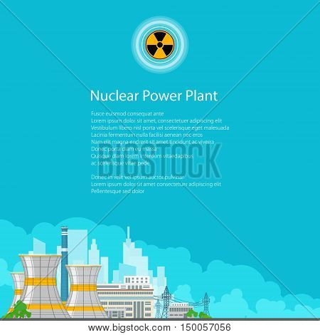 Nuclear Power Plant on the Background of the City, Thermal Power Station, Electric Power Transmission from a Nuclear Power Plant, Poster Brochure Flyer Design ,Radiation Sign ,Vector Illustration