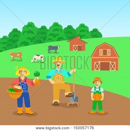 Farming family standing in farm field. Flat vector background. Mother with vegetables, father with a shovel, son with pumpkin. Countryside landscape with barn and cows. Parents with kid illustration